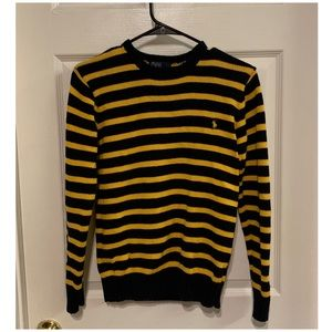 Navy and yellow striped polo knit sweater